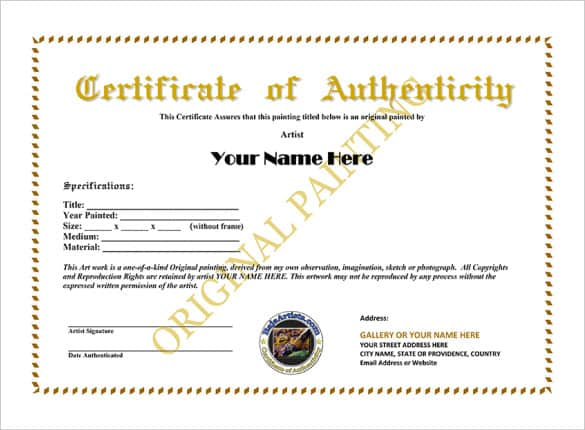 Certificate of authenticity templates word excel samples for Artist certificate of authenticity template