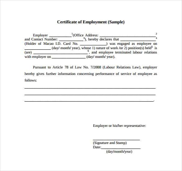 Certificate Of Employment Samples - Word Excel Samples
