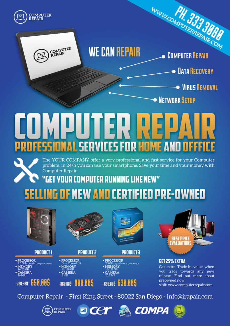 computer repair flyer template info computer repair flyers word excel samples
