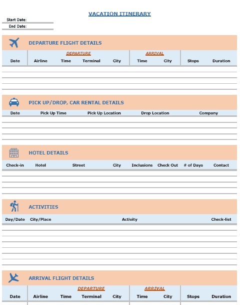Blank itinerary templates word excel samples for Trip calendar planner template