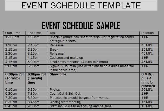 Event schedule templates word excel samples for Concert planning template