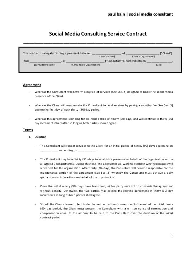 Social Media Contract Templates  Word Excel Samples