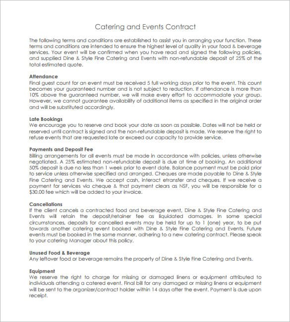 catering contract templates