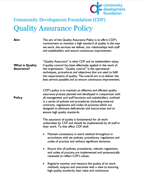 quality assurance policy template quality assurance policy templates word excel samples