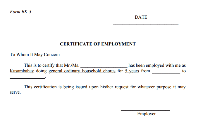 certificate employment sample form employers