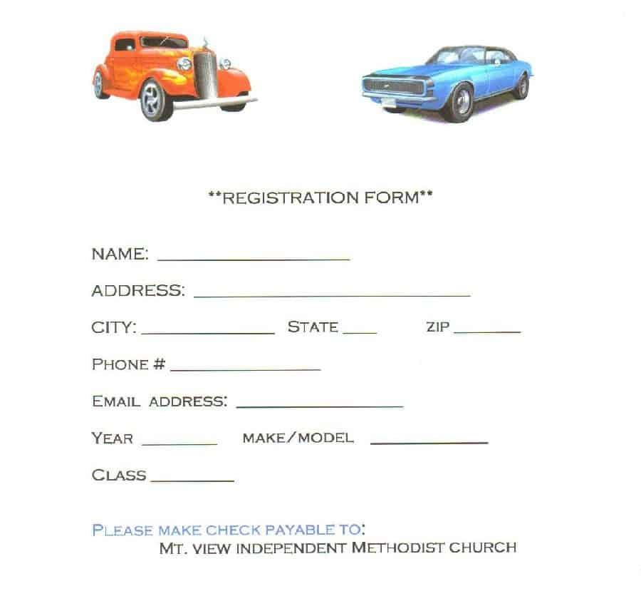 8  car show registration form templates