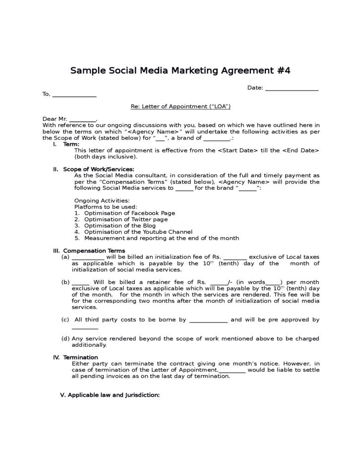 4 social media contract templates word excel samples. Black Bedroom Furniture Sets. Home Design Ideas