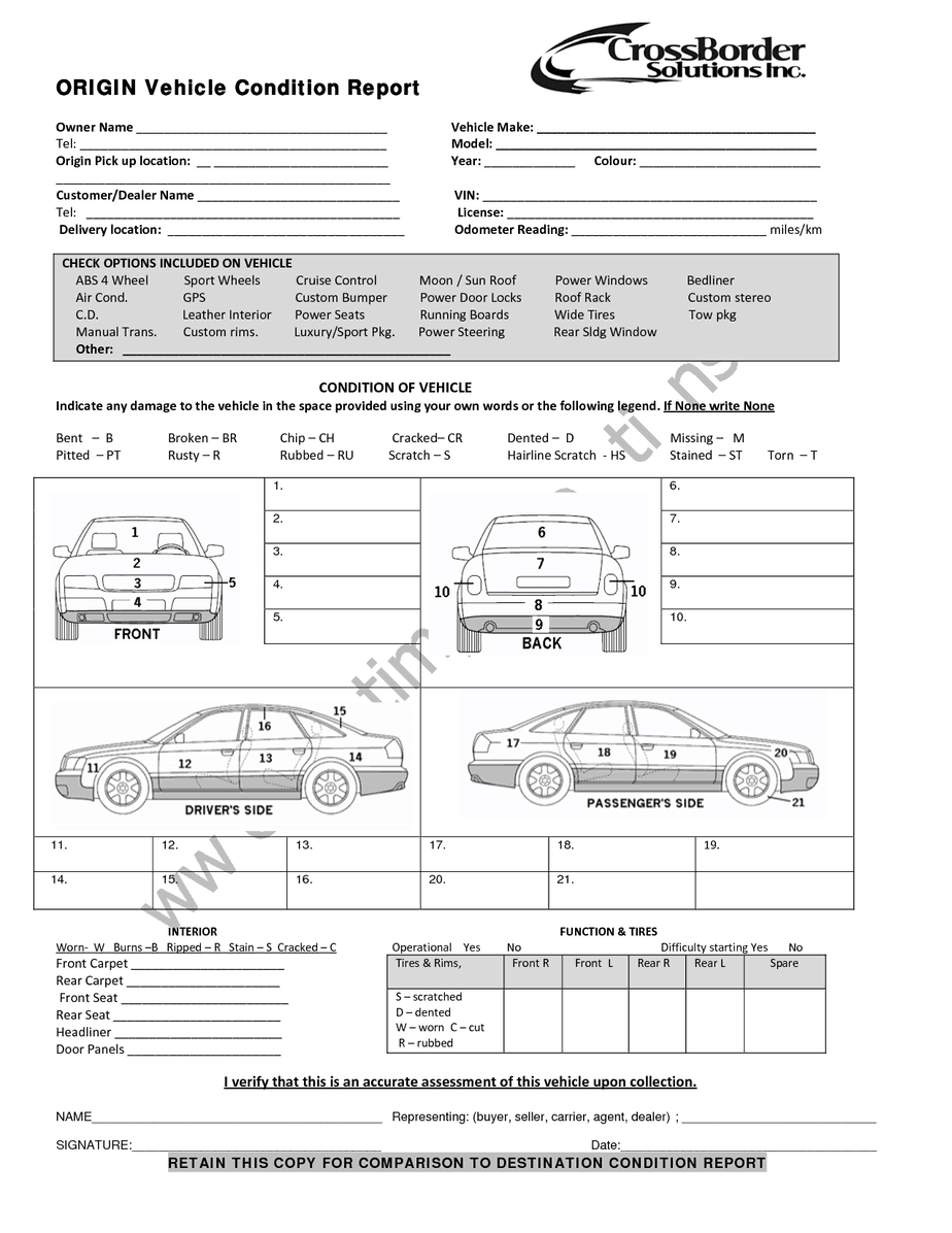 12 Vehicle Condition Report Templates Word Excel Samples