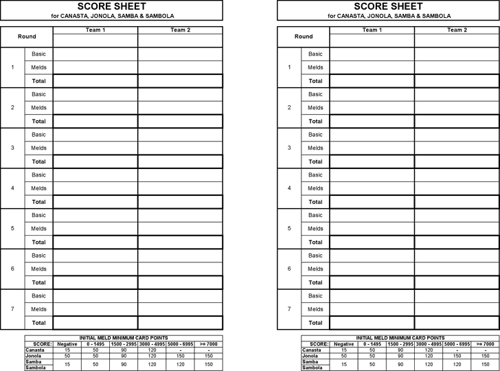 picture regarding Printable Score Sheet identified as 4+ Canasta Rating Sheets PDF - Phrase Excel Samples