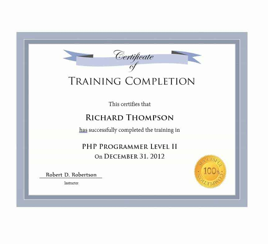 It is a picture of Vibrant Printable Certificate of Completion
