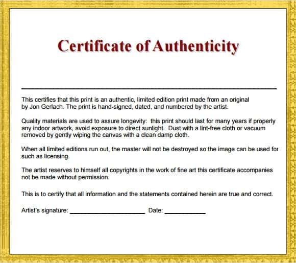 12 Certificate Of Authenticity Templates Word Excel Samples